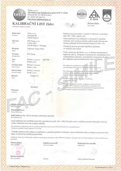 Foto - Certificato di Calibrazione (Fac Simile)