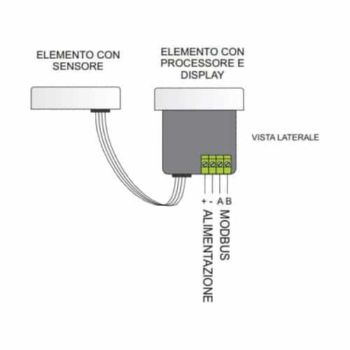 Schema - Termoigrometro Modbus RS485 MB-THL-Sxx